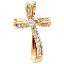 0.25 CTW Diamond Cross Faith Pendant 14KT Yellow Gold - REF-16X4Y
