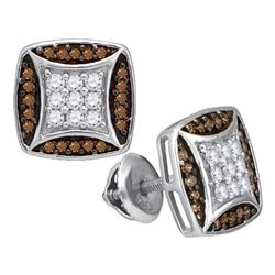 0.50 CTWCognac-brown Color Diamond Square Cluster Earrings 10KT White Gold - REF-30F2N