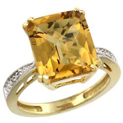 Natural 5.42 ctw Whisky-quartz & Diamond Engagement Ring 14K Yellow Gold - REF-60R3Z