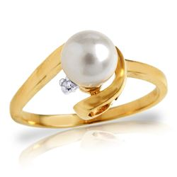Genuine 1.01 ctw Pearl & Diamond Ring Jewelry 14KT Yellow Gold - REF-38R2P