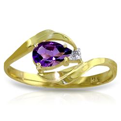 Genuine 0.41 ctw Amethyst & Diamond Ring Jewelry 14KT Yellow Gold - REF-26F6Z