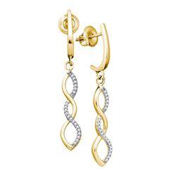 0.14 CTW Diamond Infinity Dangle Earrings 10KT Yellow Gold - REF-14W9K