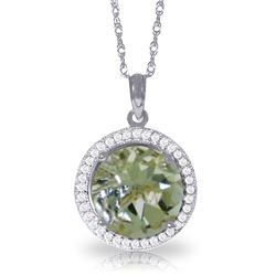 Genuine 5.2 ctw Green Amethyst & Diamond Necklace Jewelry 14KT White Gold - REF-70H6X