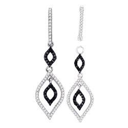 0.50 CTWBlack Color Diamond Oval Dangle Earrings 10KT White Gold - REF-41K9W