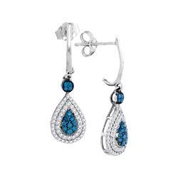 0.52 CTW Blue Color Diamond Teardrop Dangle Earrings 10KT White Gold - REF-34Y4X