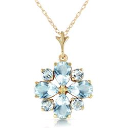 Genuine 2.43 ctw Aquamarine Necklace Jewelry 14KT Yellow Gold - REF-36P8H