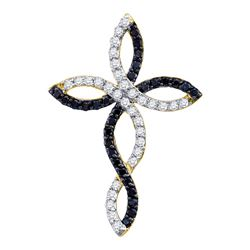 0.30 CTW Black Color Diamond Woven Infinity Cross Pendant 10KT Yellow Gold - REF-19F4N