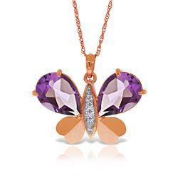 Genuine 6.6 ctw Amethyst & Diamond Necklace Jewelry 14KT Rose Gold - REF-126V3W