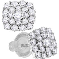1.01 CTW Diamond Cluster Earrings 14KT White Gold - REF-89X9Y