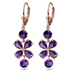 Genuine 5.32 ctw Amethyst Earrings Jewelry 14KT Rose Gold - REF-50W3Y