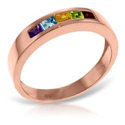 Genuine 0.60 ctw Multi-gemstones Ring Jewelry 14KT Rose Gold - REF-46R2P