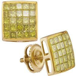 1.04 CTW Mens Princess Yellow Color Diamond Earrings 10KT Yellow Gold - REF-49M5H