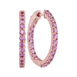 2.25 CTW Pink Sapphire In/Out Hoop Earrings 14KT Rose Gold - REF-71H9M