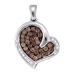 0.50 CTWCognac-brown Color Diamond Heart Love Pendant 10KT White Gold - REF-30N2F