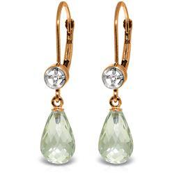 Genuine 4.53 ctw Green Amethyst & Diamond Earrings Jewelry 14KT Rose Gold - REF-29A3K