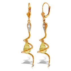 Genuine 4.56 ctw Citrine & Diamond Earrings Jewelry 14KT Rose Gold - REF-91Y4F