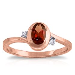 Genuine 0.51 ctw Garnet & Diamond Ring Jewelry 14KT Rose Gold - REF-25H4X