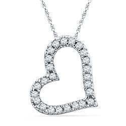 0.10 CTW Diamond Heart Love Pendant 10KT White Gold - REF-8N2F