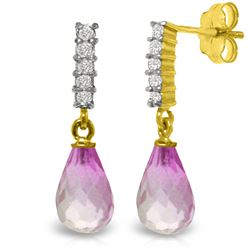 Genuine 4.65 ctw Pink Topaz & Diamond Earrings Jewelry 14KT Yellow Gold - REF-36X2M