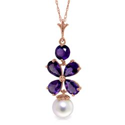 Genuine 3.65 ctw Amethyst & Pearl Necklace Jewelry 14KT Rose Gold - REF-27T6A