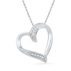 0.03 CTW Diamond Heart Outline Pendant 10KT White Gold - REF-7Y4X