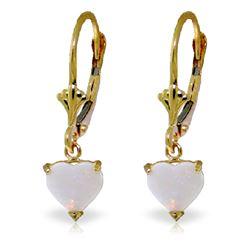 Genuine 1.30 ctw Opal Earrings Jewelry 14KT Yellow Gold - REF-30V2W
