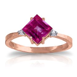 Genuine 1.77 ctw Pink Topaz & Diamond Ring Jewelry 14KT Rose Gold - REF-29H2X