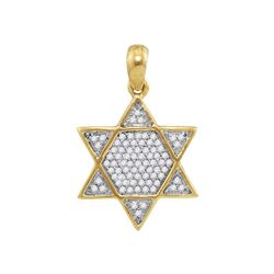 0.20 CTW Mens Diamond 6-Point Star Magen David Charm Pendant 10KT Yellow Gold - REF-16X4Y