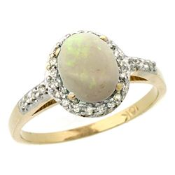 Natural 0.83 ctw Opal & Diamond Engagement Ring 14K Yellow Gold - REF-31R9Z