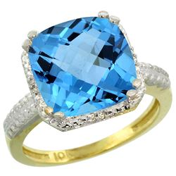 Natural 5.96 ctw Swiss-blue-topaz & Diamond Engagement Ring 10K Yellow Gold - REF-32Z4Y