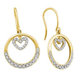 0.26 CTW Diamond Circle Heart Dangle Wire Earrings 14KT Yellow Gold - REF-40M4H