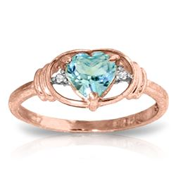 Genuine 0.96 ctw Blue Topaz & Diamond Ring Jewelry 14KT Rose Gold - REF-40X3M