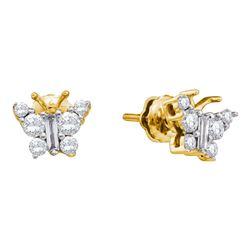 0.50 CTWDiamond Butterfly Bug Earrings 14KT Yellow Gold - REF-44N9F