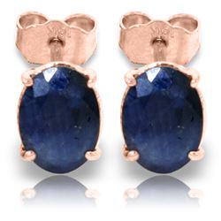 Genuine 2 ctw Sapphire Earrings Jewelry 14KT Rose Gold - REF-21X9M
