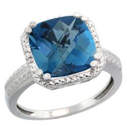 Natural 5.96 ctw London-blue-topaz & Diamond Engagement Ring 14K White Gold - REF-44A3V