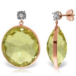 Genuine 34.06 ctw Lemon Quartz & Diamond Earrings Jewelry 14KT Rose Gold - REF-65M3T