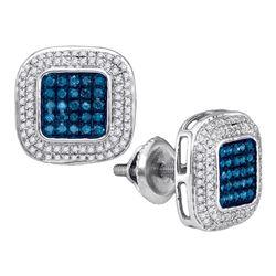 0.50 CTWBlue Color Diamond Square Cluster Earrings 10KT White Gold - REF-34K4W