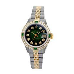 Rolex Pre-owned 26mm Womens Custom Green Vignette Two Tone - REF-530Y2W