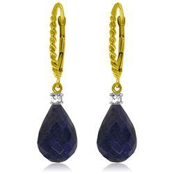 Genuine 17.7 ctw Sapphire & Diamond Earrings Jewelry 14KT Yellow Gold - REF-42N6R