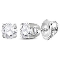 0.26 CTW Diamond Solitaire Stud Earrings 14KT White Gold - REF-20N3F