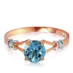 Genuine 1.02 ctw Blue Topaz & Diamond Ring Jewelry 14KT Rose Gold - REF-28P3H