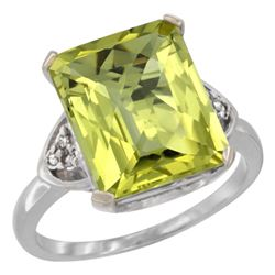Natural 5.44 ctw lemon-quartz & Diamond Engagement Ring 10K White Gold - REF-30X2A