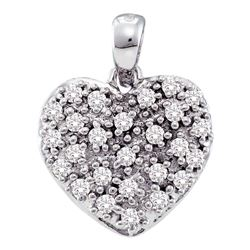 0.15 CTW Diamond Small Heart Cluster Pendant 14KT White Gold - REF-19M4H