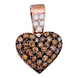 0.38 CTW Cognac-brown Color Cluster Diamond Heart Pendant 10KT Rose Gold - REF-18F2N