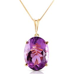 Genuine 7.55 ctw Amethyst Necklace Jewelry 14KT Yellow Gold - REF-35H9X