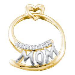 0.04 CTW Diamond Mom Mother Pendant 10KT Yellow Two-tone Gold - REF-10K5W