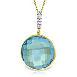 Genuine 23.08 ctw Blue Topaz & Diamond Necklace Jewelry 14KT Yellow Gold - REF-71F8Z
