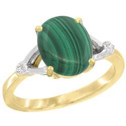 Natural 2.76 ctw Malachite & Diamond Engagement Ring 14K Yellow Gold - REF-31G6M