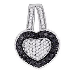 0.51 CTW Black Color Diamond Heart Pendant 10KT White Gold - REF-22H4M