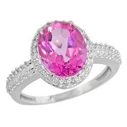 Natural 2.56 ctw Pink-topaz & Diamond Engagement Ring 14K White Gold - REF-42G2M